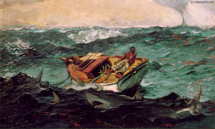 famous painting The gulf stream, Metropolitan Mus of Winslow Homer