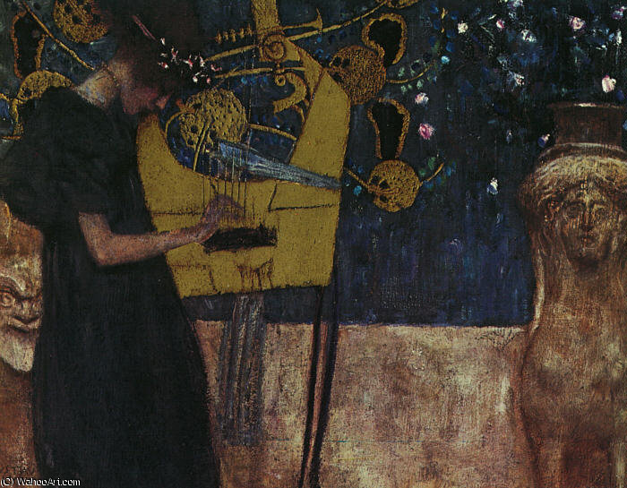 famous painting Music I, oil on canvas, Neue Pinakothek, Munich of Gustav Klimt