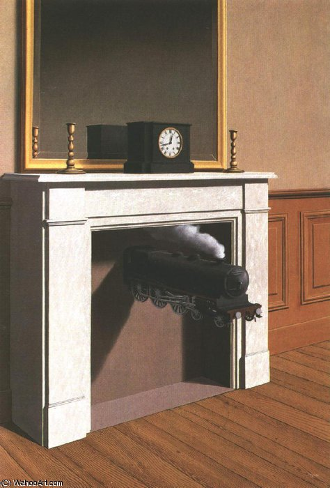 famous painting Time transfixed,1938, art institute of chicago of Rene Magritte