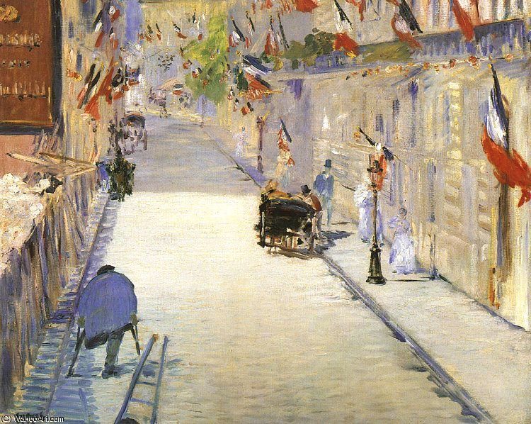 famous painting Rue Mosnier with Flags, J. Paul Getty Museum, Ma of Edouard Manet