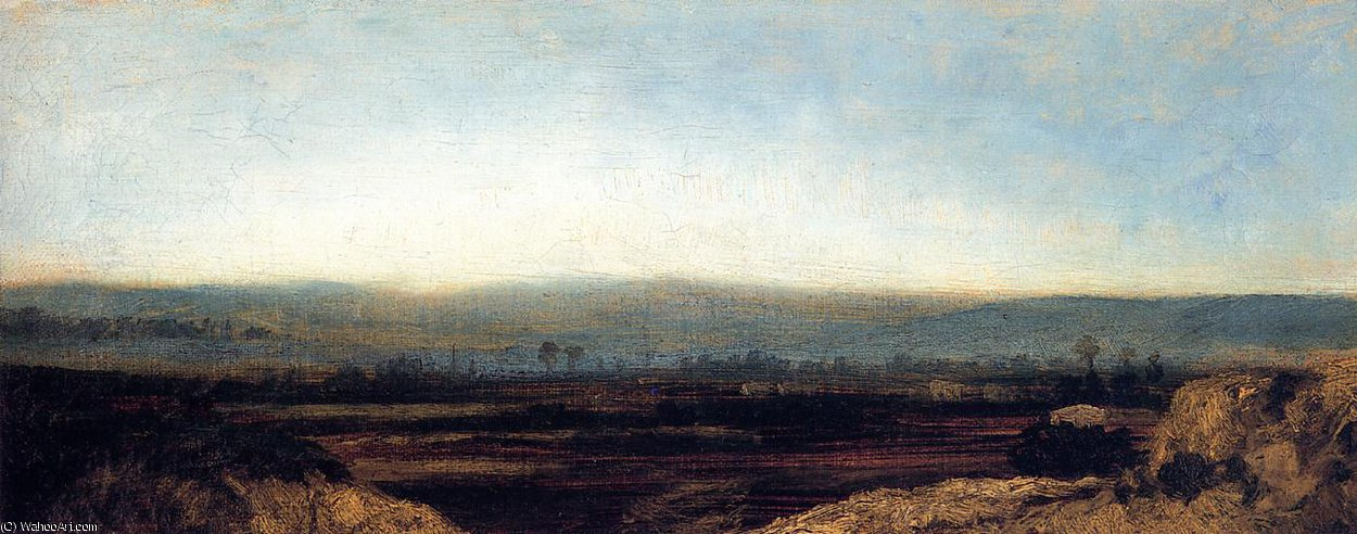 Order Art Reproductions | Panoramic Landscape on the Outskirts of Paris by Théodore Rousseau (Pierre Etienne Théodore Rousseau) | Most-Famous-Paintings.com