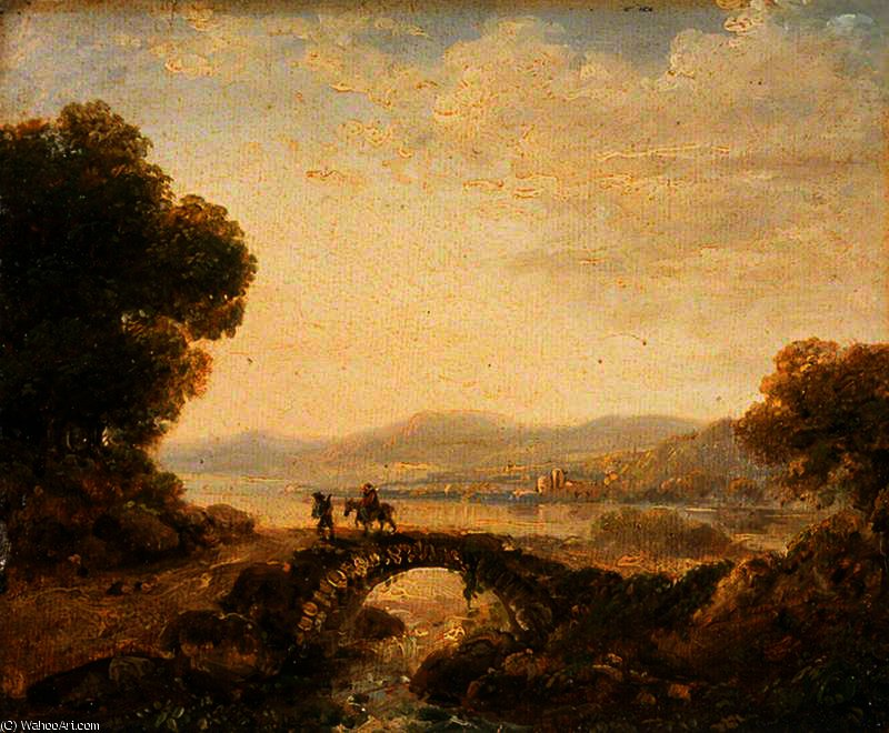 famous painting Landscape with a Bridge of Richard Wilson