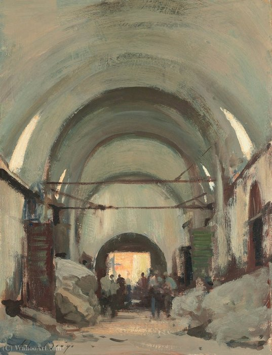 famous painting In the Covered Wool Market, Istanbul of Edward Seago