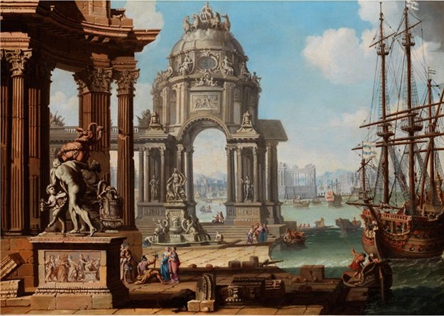 famous painting Vision of an ancient port town of Antonio Visentini