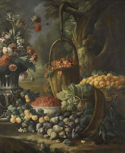 Baldassare De Caro - An upturned basket of figs, together with apricots, other fruit and flowers in a landscape setting