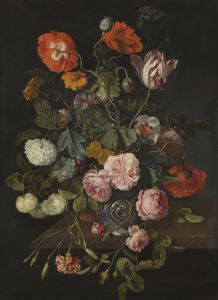 Cornelis Kick - A still life with parrot tulips, poppies, roses, snow balls, and other flowers in a glass vase over a stone ledge
