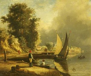 George Vincent - Figures by a River