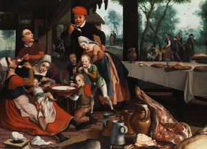 Pieter Pietersz - Family eating together.
