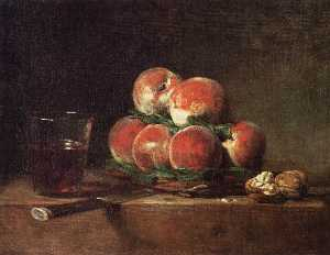 Jean-Baptiste Simeon Chardin - Basket of Peaches, with Walnuts, Knife and Glass of Wine