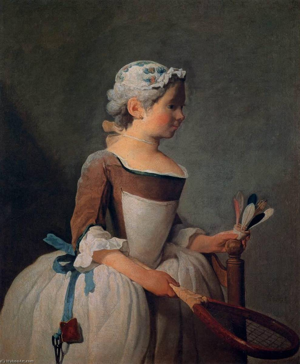 famous painting Girl with Racket and Shuttlecock of Jean-Baptiste Simeon Chardin