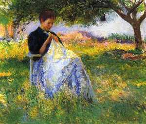 Edmund Charles Tarbell - A Girl Sewing in an Orchard