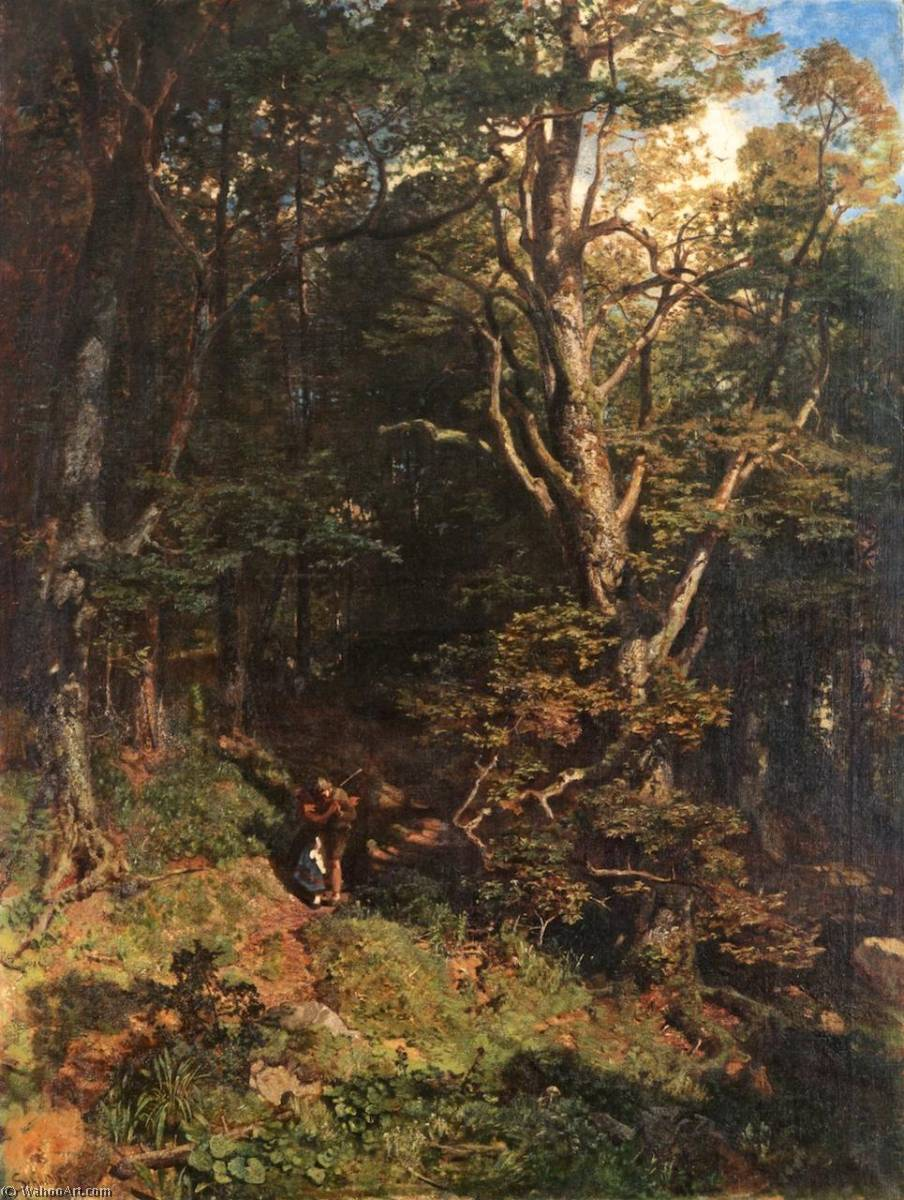 Order Paintings Reproductions | Embrace in the Forest by Emil Jacob Schindler | Most-Famous-Paintings.com