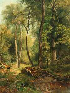 Fritz Von Uhde - Wooded Landscape