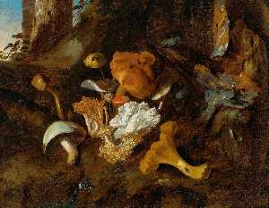 Otto Marseus Van Schrieck - A Forest Floor Still Life with Mushrooms and a Snake