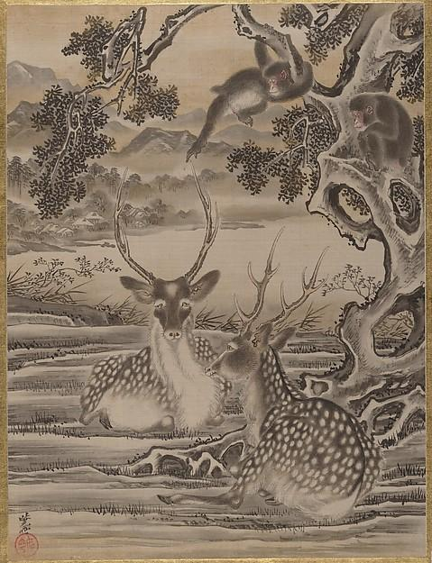 famous painting Deer and Monkeys of Kawanabe Kyōsai