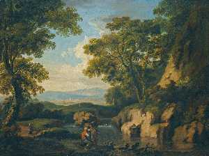George Barret The Elder - A Mountainous Wooded Landscape with figures by a river in the foreground