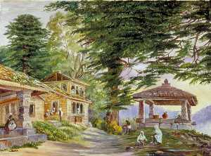 Marianne North - Dibee Dhoora Dee with Its Well and Deodar Trees, Kumaon, India