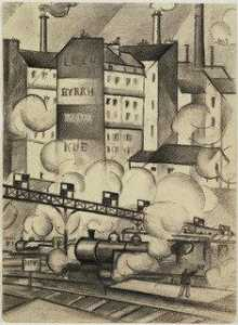 Christopher Richard Wynne Nevinson - Study for The Departure of the Train de Luxe