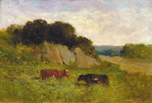 famous painting Untitled (landscape with two cows), (painting) of Edward Mitchell Bannister