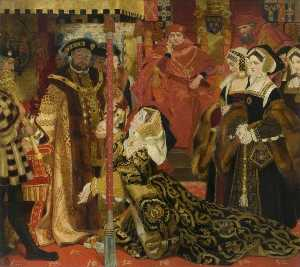 Frank O Salisbury - The Trial of Queen Catherine of Aragon (study for a mural at the Houses of Parliament)