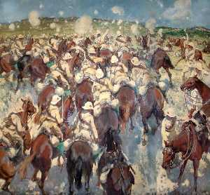 Thomas Cantrell Dugdale - The Charge of the Royal Buckinghamshire Hussars at El Mughar, Palestine, 13 November 1917
