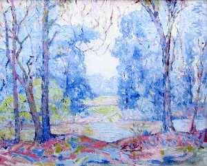 Albert Henry Krehbiel - (Pink and Blue Landscape with Trees and a River), (painting)