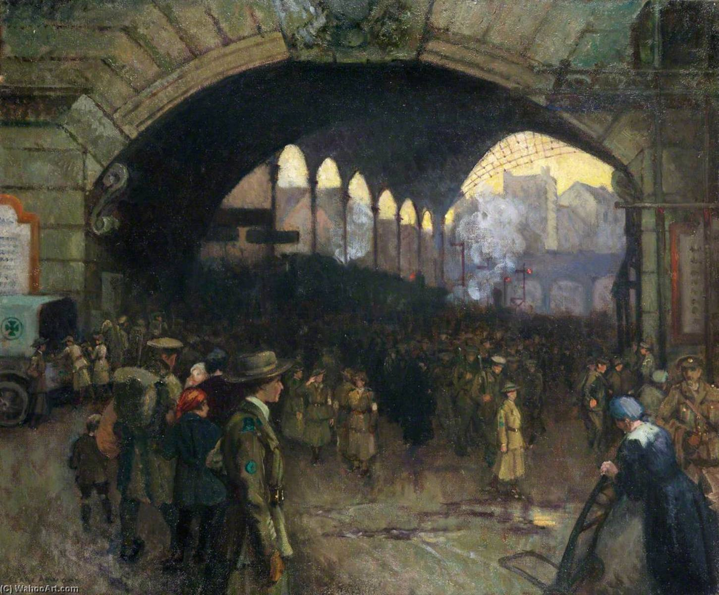 famous painting Victoria Station, 1918 The Green Cross Corps (Women's Reserve Ambulance), Guiding Soldiers on Leave of Clare Atwood