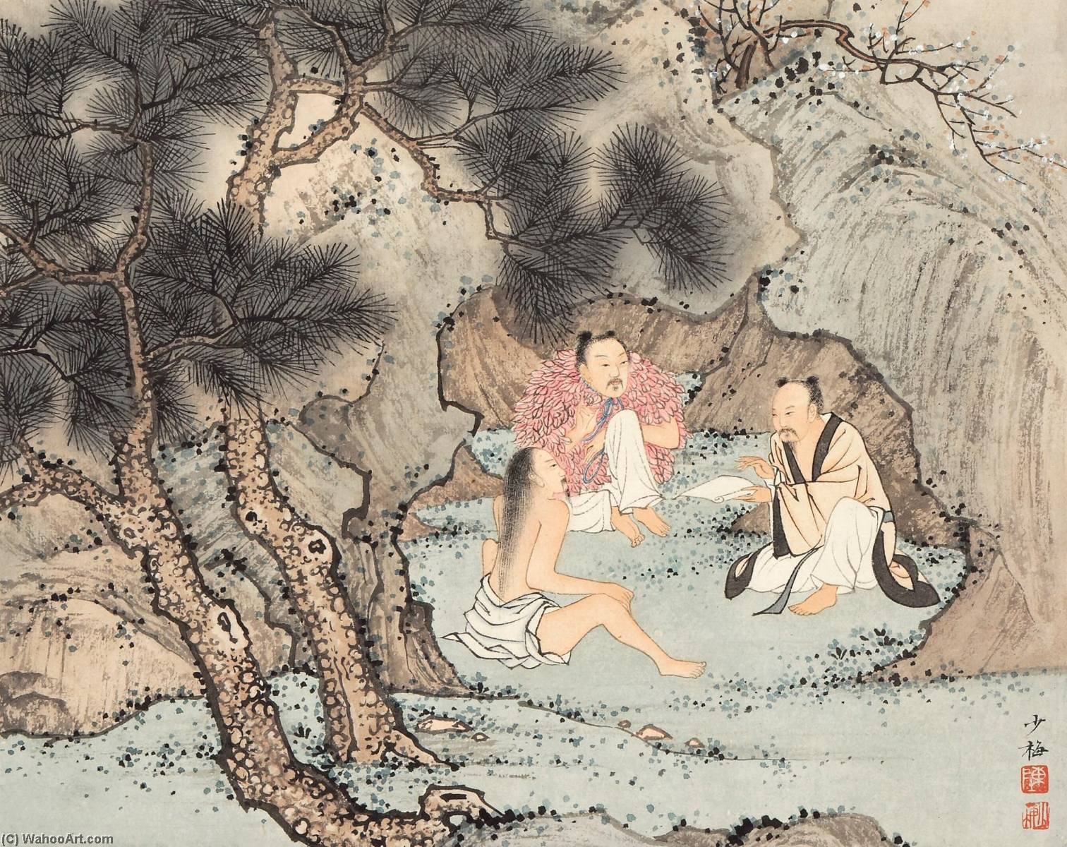 famous painting THREE IMMORTALS of Chen Shaomei