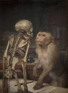Gabriel Cornelius Ritter Von Max - Monkey in front of a Skeleton