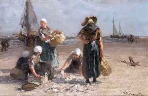 Bernardus Johannes (Bernard) Blommers - Fishwives on the Beach