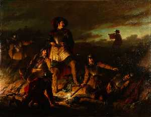 John Adam Houston - A Night Alarm in the Cavalier Camp