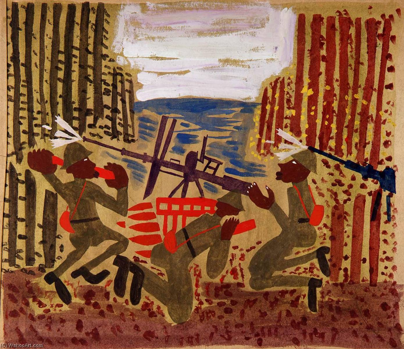 | War Scene by William Henry Johnson | Most-Famous-Paintings.com
