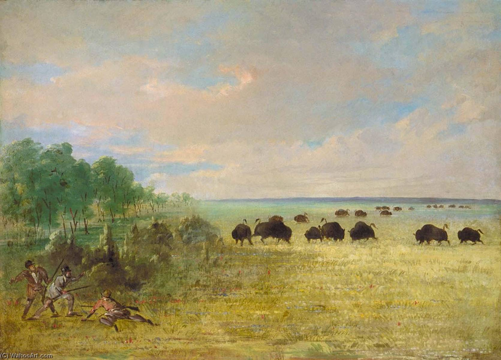 famous painting Catlin and Party Stalking Buffalo in Texas of George Catlin