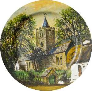 Alfred Worthington - Llanbadarn Church (finger plate)