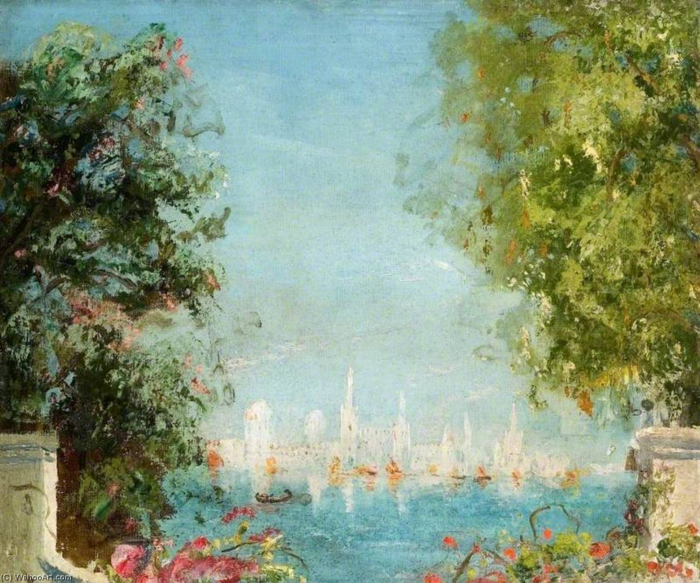 famous painting View across a Lagoon towards a City of Thomas Edwin Mostyn