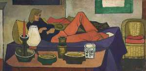 Cliff Rowe - Woman Reclining on Bed