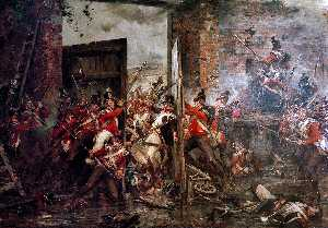 Robert Gibb - Closing the Gates at Hougoumont, 1815