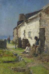 John Leslie Thomson - Fishermen Mending Nets