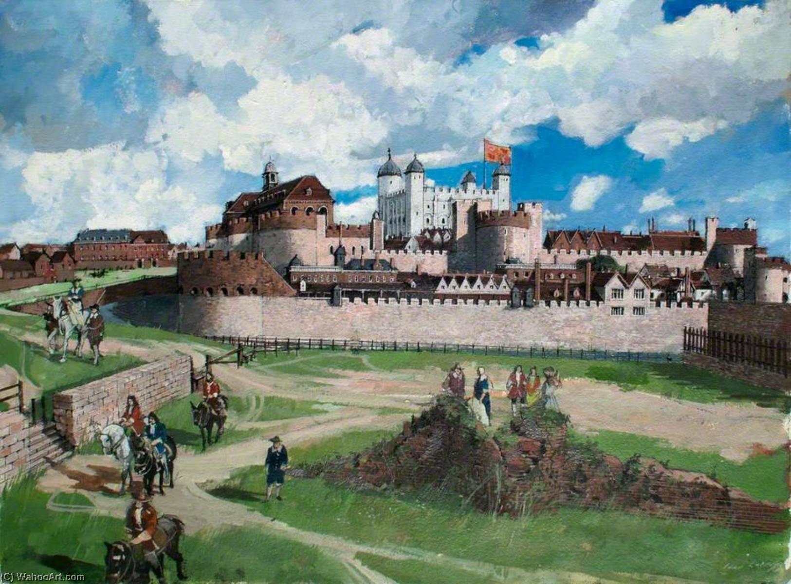 famous painting Reconstructed View of the Tower of London from the West, c.1700 of Ivan Lapper