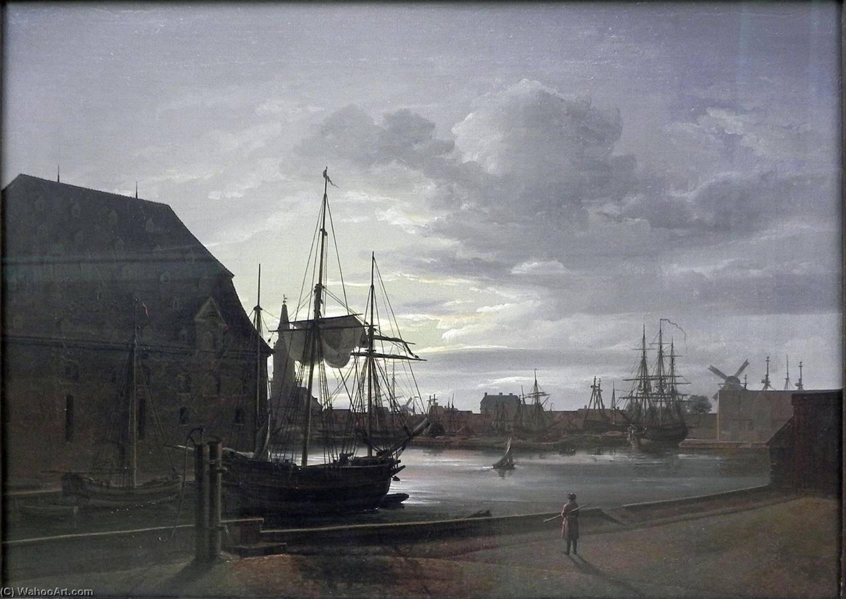 famous painting Frederiksholms Canal in Copenhagen with Christian IV's Brewery of Johan Christian Clausen Dahl