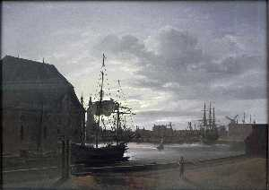 Johan Christian Clausen Dahl - Frederiksholms Canal in Copenhagen with Christian IV's Brewery