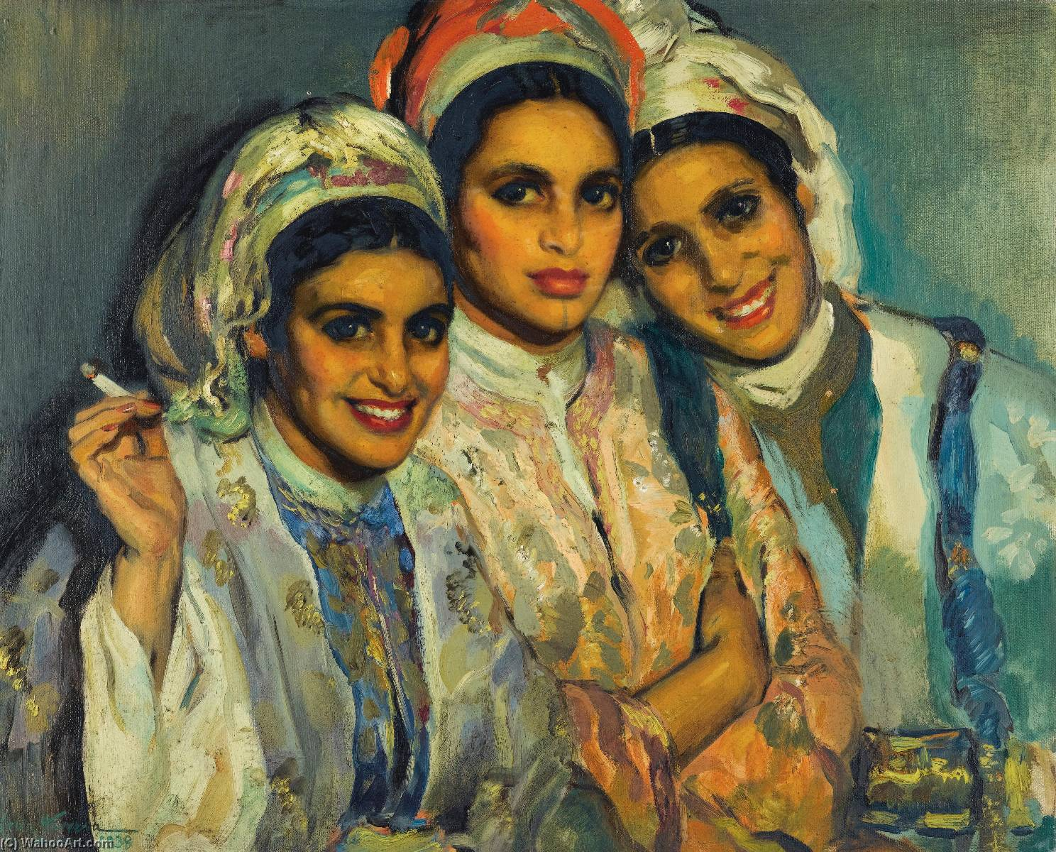 Buy Museum Art Reproductions | Les trois amies by José Herrerilla Cruz Herrera | Most-Famous-Paintings.com