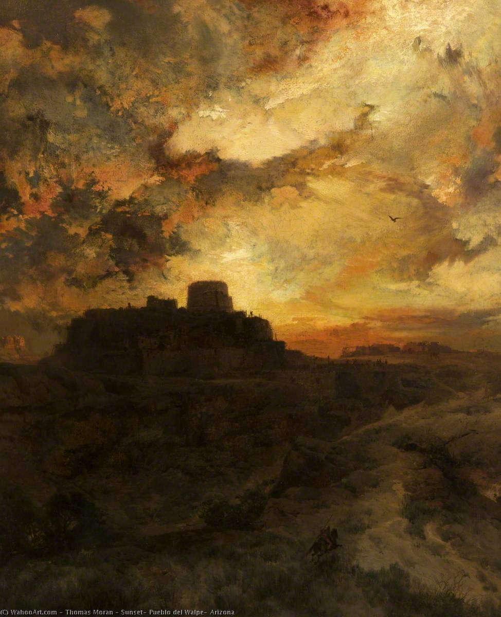 famous painting Sunset, Pueblo del Walpe, Arizona of Thomas Moran