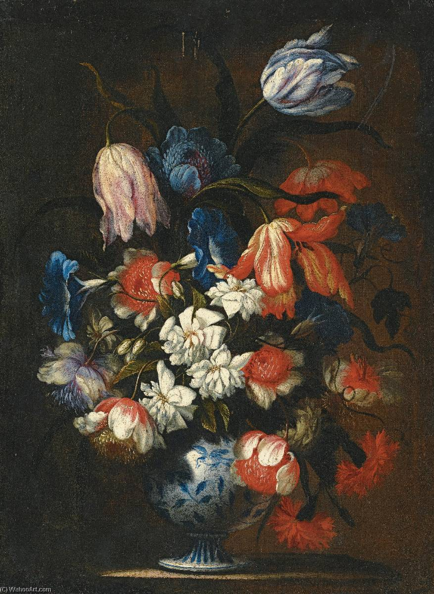 famous painting a Still life with tulips, carnations and other flowers in a blue and white porcelain vase of Francesco Mantovano