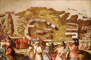 Matteo Perez D' Aleccio - The Siege of Malta Arrival of the Turkish Fleet, 20 May 1565