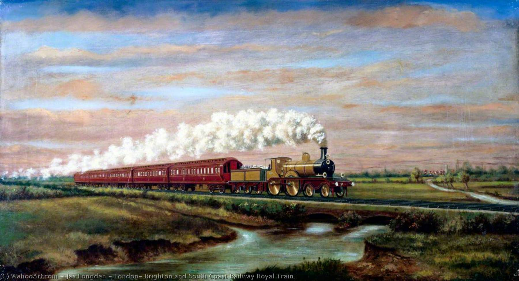 famous painting London, Brighton and South Coast Railway Royal Train of Jas Longden