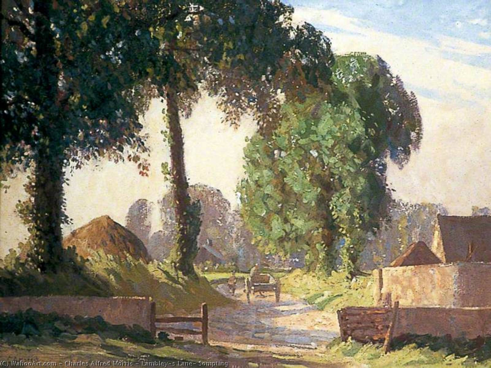 Order Paintings Reproductions | Lambley's Lane, Sompting by Charles Alfred Morris | Most-Famous-Paintings.com