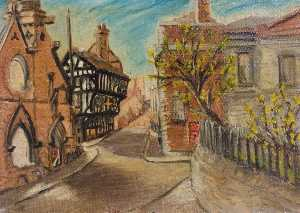 Beryl Clifton Bowyer - The Ruins of St Michael's Baptist Church, the 'Golden Cross' Inn and the Law Courts, Coventry
