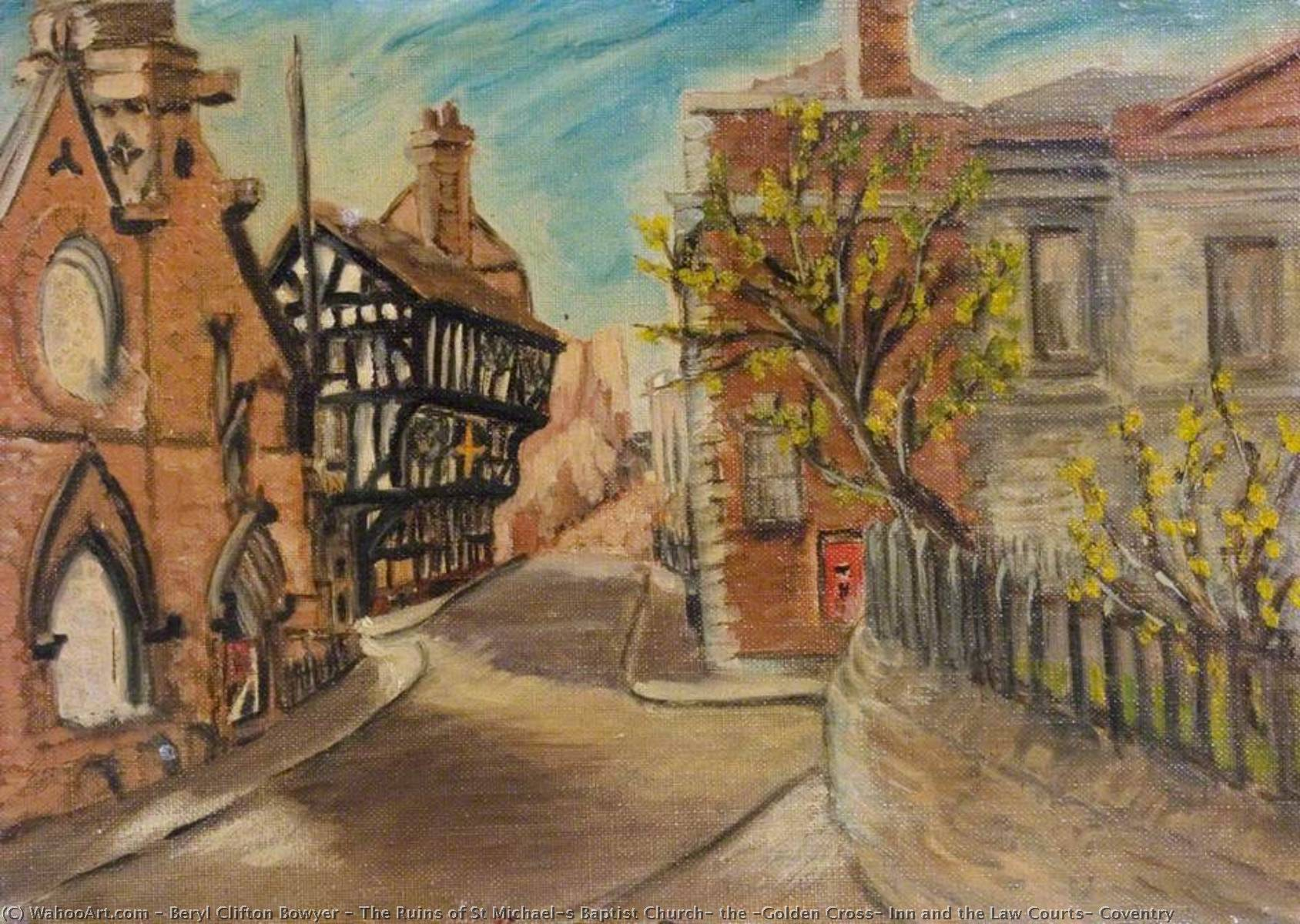 Order Paintings Reproductions | The Ruins of St Michael's Baptist Church, the 'Golden Cross' Inn and the Law Courts, Coventry by Beryl Clifton Bowyer | Most-Famous-Paintings.com