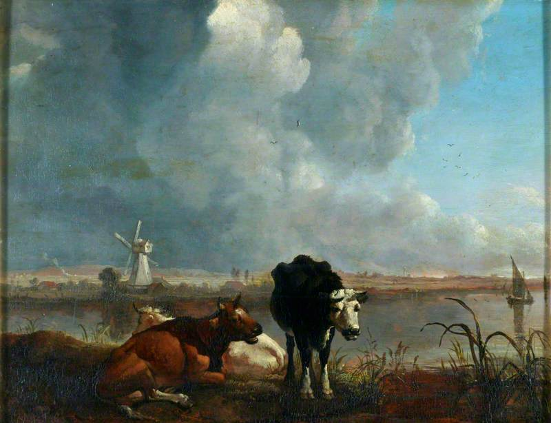 famous painting Landscape with Cows Drinking of James M Burnet